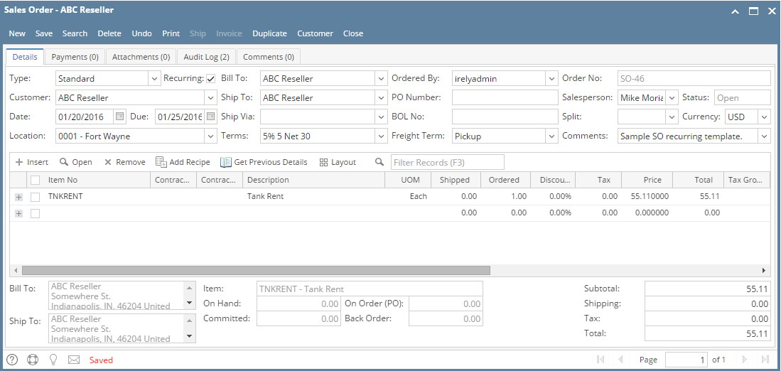 How To Create Sales Order Recurring Template  I Documentation